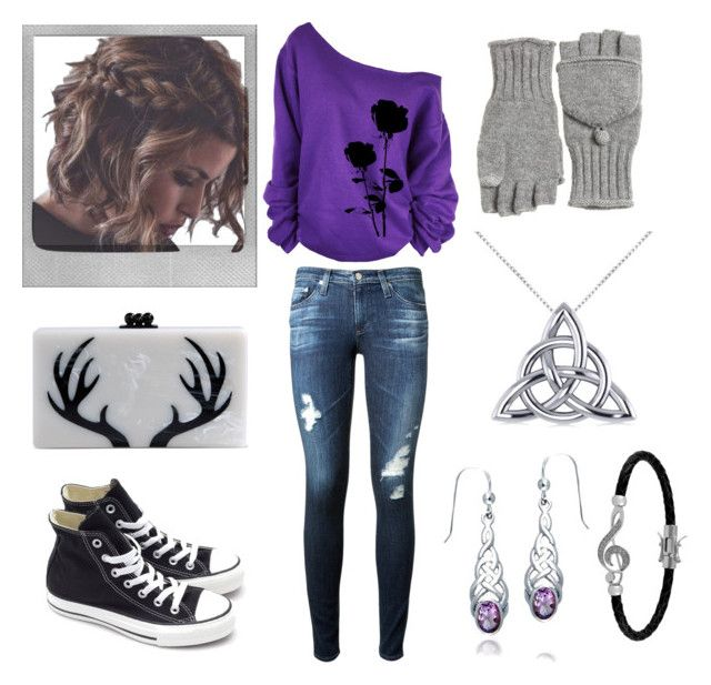 """""""J.J Casual Purple Winter's Night"""" by fantasyblast on Polyvore featuring Polaroid, AG Adriano Goldschmied, Edie Parker, Converse, Calypso St. Barth, Allurez, Jewel Exclusive and Bling Jewelry"""