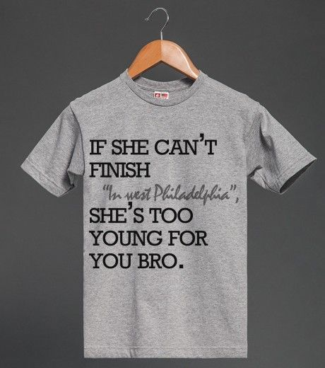 Too Young For You Bro Quote Top | Heavyweight T-shirt | Skreened