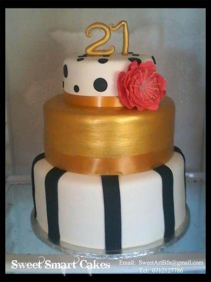 21st Black & Gold birthday cake (Bloemfontein, ZA)