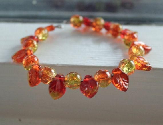 Autumn inspired bracelet glass beads by Lisbethstafnedesigns