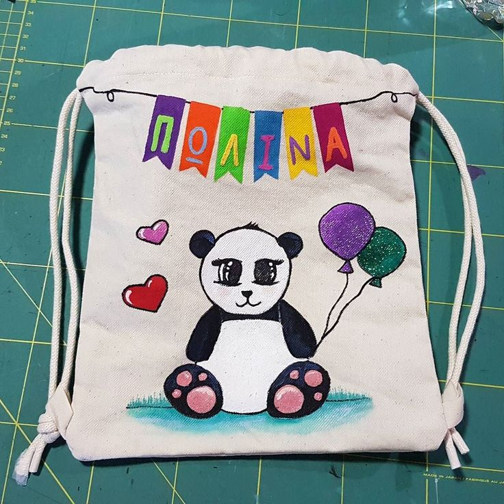A small drawstring backpack for a really young lady!  . #isiorizado #customorder #handmade  #oneofakind #drawstringbackpack  #backpack #toddleraccessories #toddler #personalisedgifts #panda #greek #madeingreece