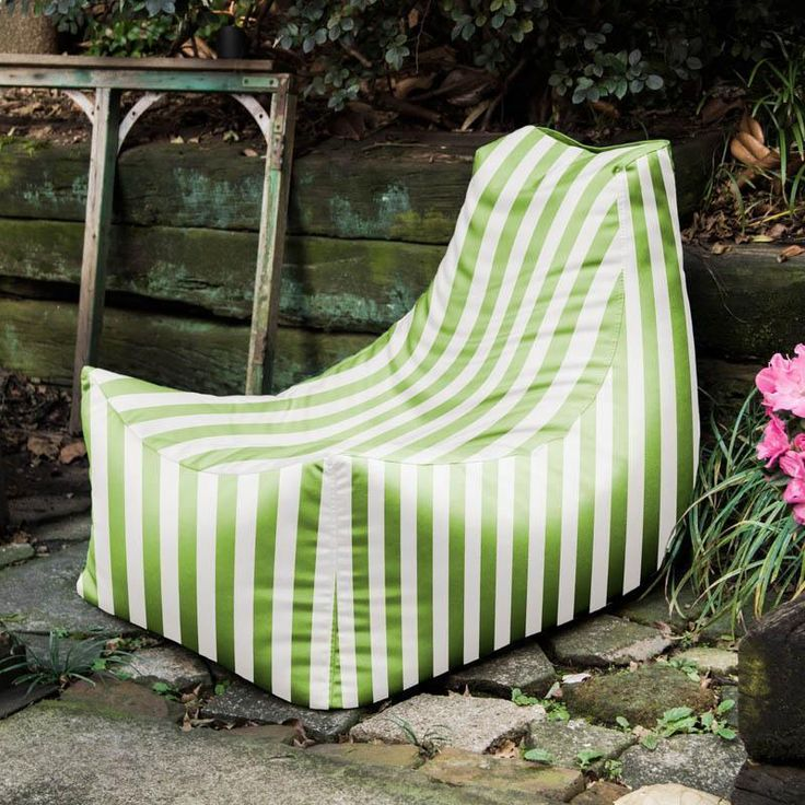 Jaxx Juniper Lime Stripe Outdoor Bean Bag Chair