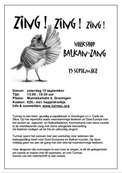 flyer workshop Balkan-zang.  Eenvoudige flyer die toch opvalt door de grappige illustratie van vogel en de grote letters en het lettertype.