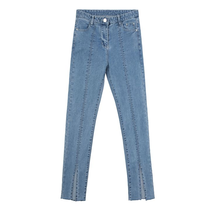 Split Front Light Blue Skinny Jeans