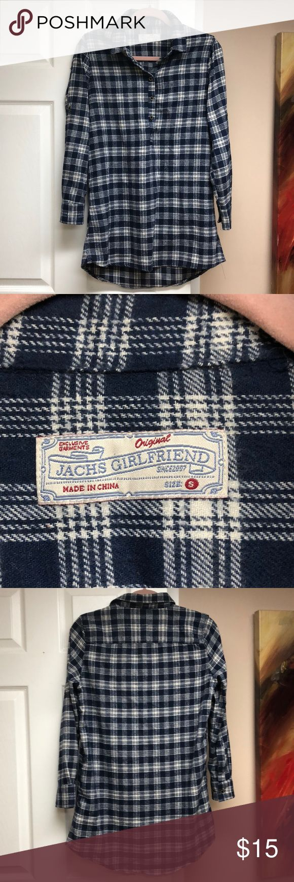 NWOT⚠️  Navy Plaid Long Pullover & Button Flannel Women's Jachs Girlfriend plaid navy flannel in a size small. This is a long length (down to the butt) pullover shirt with buttons halfway down (see 1st pic). It features a navy plaid pattern (the actual navy color is a little brighter than in the photos) with sleeves that can be worn at the wrist or rolled up to the elbow. This shirt has never been worn (new without tags), is in like new condition, and is very soft! All offers are considered…