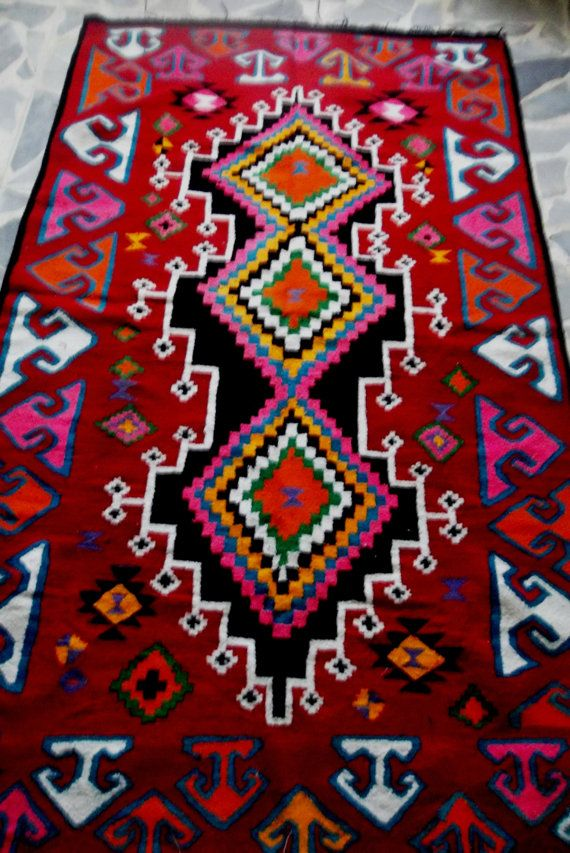 turkish Kilim rug,multicolor turkish rug ,persian rug,Vintage Turkish kilim rug, area rug, morrocan rug, vintage rug,diamand disgn kilim rug