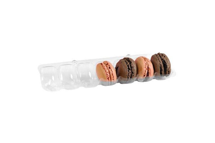 Envase largo y transparente para siete macarons