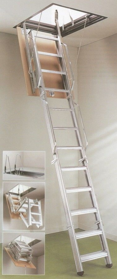 Dimes L3 Steel Folding Loft Ladder -- The steel ladder comes complete with a steel hatch lining and MDF trapdoor as standard. It is also supplied with two ladder handrails and two exit grab rails to assist the user. The Dimes L3 is suitable for ceiling heights from 2400mm to 4000mm and a range of loft opening sizes are available. It comes spring assisted for ease of operation. Each ladder tread measures 90mm deep and 360mm wide. # From £660.00 (Inc VAT & UK Mainland Delivery)
