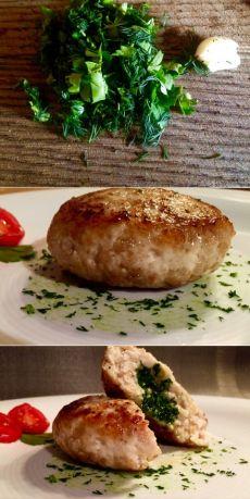 Котлеты из мяса с зеленым маслом