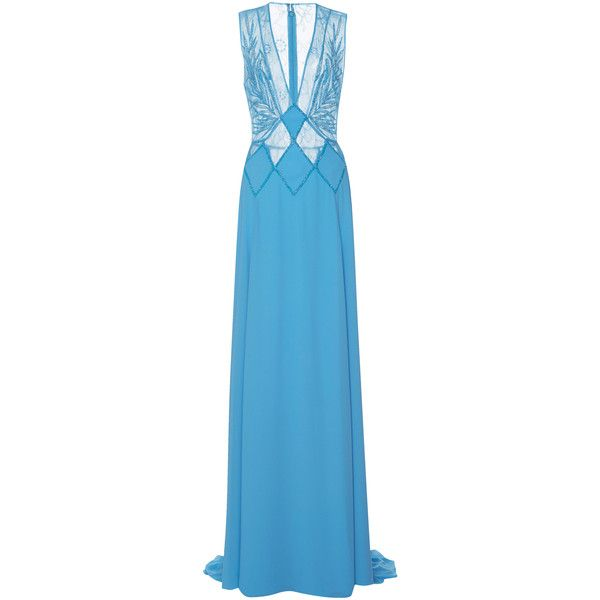 Georges Hobeika Sheer Embellished Gown ($3,000) ❤ liked on Polyvore featuring dresses, gowns, blue, blue dress, blue v neck dress, blue evening dresses, v neck evening gown and blue evening gown