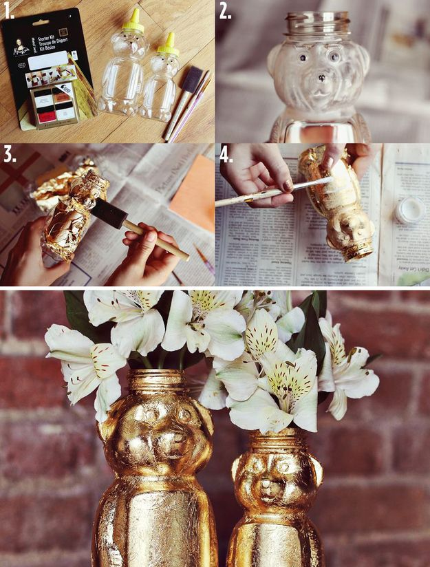 Gold Leaf Honey Bears...fill it with flowers! This makes a great hostess gift. But we'd want to keep it.