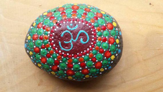 OM symbol mandala stone by ArtsOfAnanda on Etsy