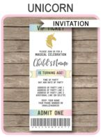 Unicorn Party Ticket Invitations template