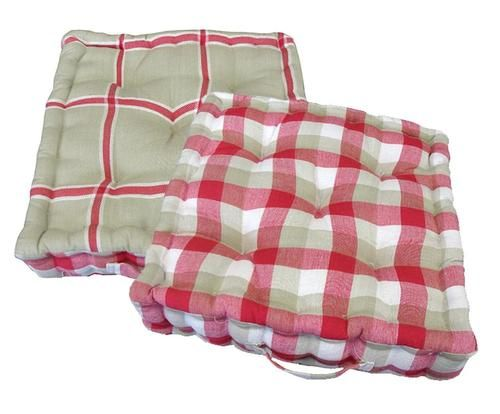 """15"""""""" Plush Pink White and Beige Plaid Reversible Indoor Chair Cushion"""