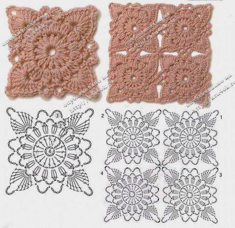 1000 images about cuadraditos y rosetas en crochet en - Cuadraditos de crochet ...