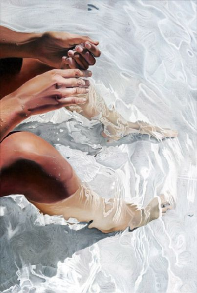 Josep Moncada {contemporary figurative female legs in water painting} Wet !!