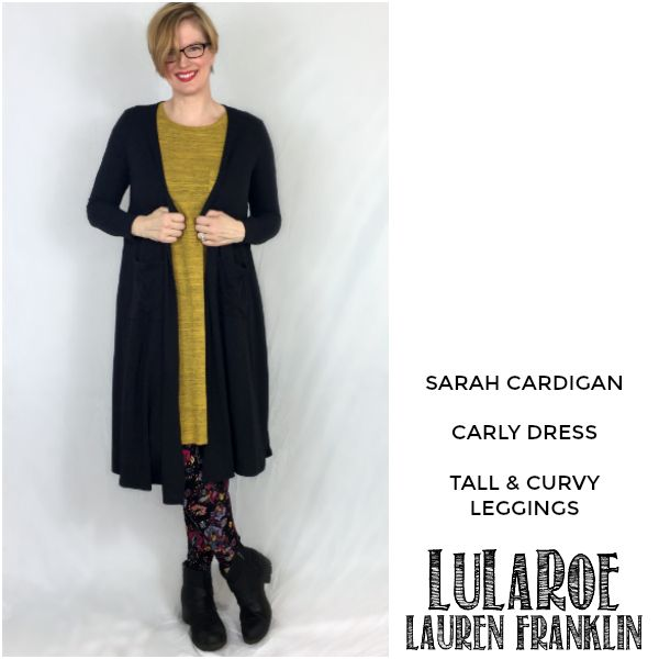 LuLaRoe Lauren Franklin featuring Kim Bongiorno in the LuLaRoe Sarah cardigan, Carly dress, and Tall and Curvy leggings - plus 14 other outfits! | WAHM style