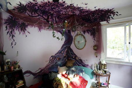 .: Purple Trees, Fairies, Paintings Trees, Dream, Exotic Place, Trees Paintings, Indoor Trees, Trees Murals, Kids Rooms