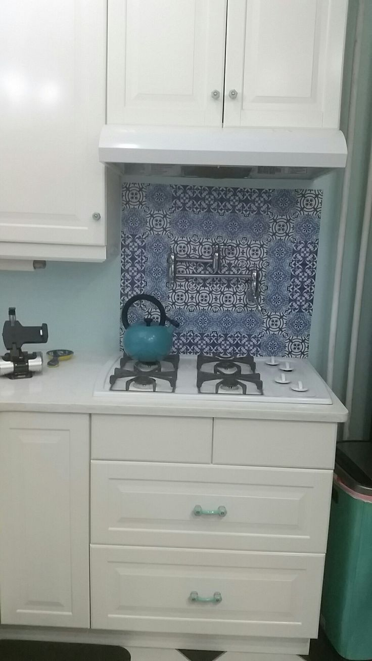 Vinyl Backsplash Stickers Only Behind Cooktop From Etsy Cobalt Blue And White Tiles
