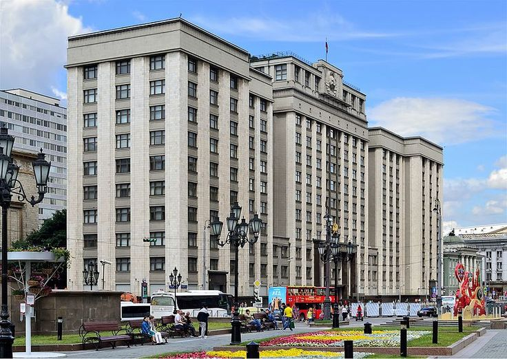 Moscow. The building of the Council of Labour and Defense in Okhotny Ryad Street. 1935. Architect Arkady Langman (1886—1968). Currently (2017) the State Duma of the Russian Federation is located in the building.  Photo by Dmitry Ivanov. 2016. #constructivism #sovietarchitecture #stalinistarchitecture