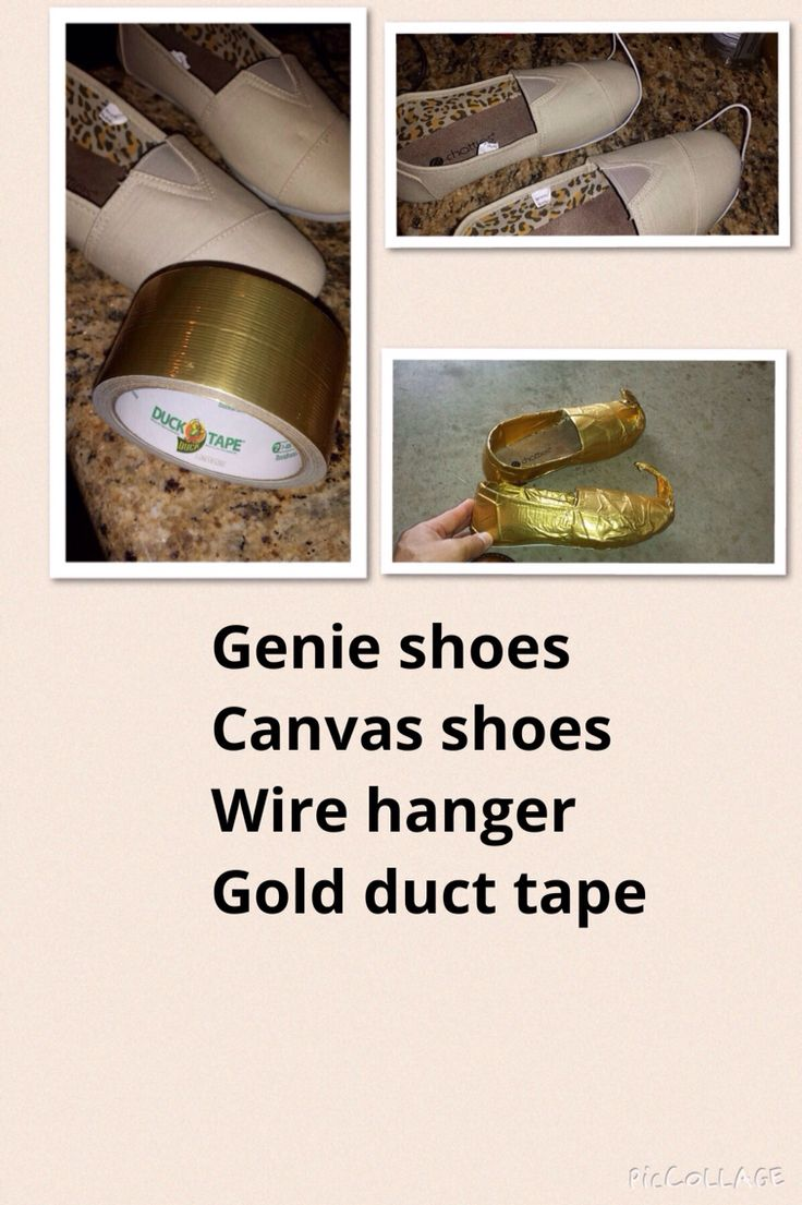 Need Genie shoes but can't find any.  1. Canvas shoes 2. Wire hanger 3. Gold Duct Tape.