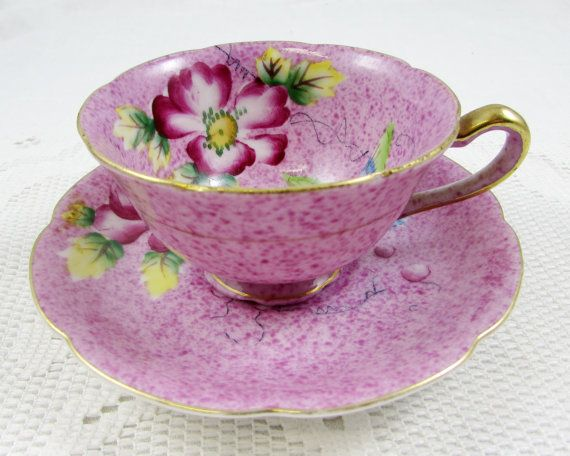Vintage Purple Japanese Tea Cup and Saucer, Bone China
