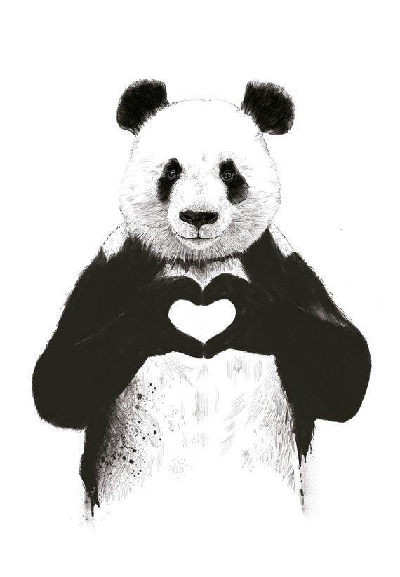 Panda love Transfer image onto wood