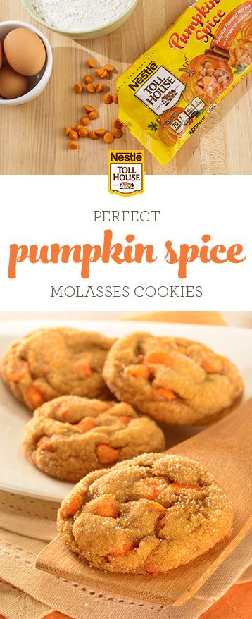 Bring the taste of fall to your table with Pumpkin Spice Molasses Cookies. Baking pure pumpkin, rich molasses, classic fall spices and NESTLE TOLL HOUSE Pumpkin Spice Morsels, these soft, homemade cookies are perfect for sharing as tasty fall treats or serving at your next holiday party. Grab this fall-inspired recipe.