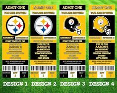 Pittsburgh Steelers Ticket Invitation