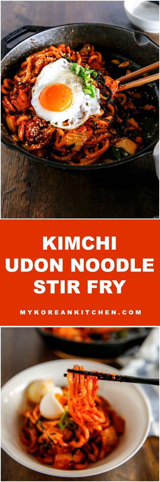15 minutes Kimchi Udon Noodle Stir Fry. This will become your new favourite noodle dish!