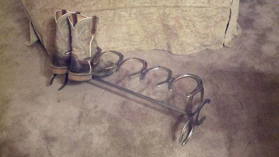 Boot rack! Great for the snow/mud days.  #horseshoes #welding #DIY