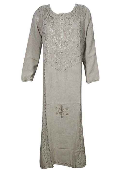 8d68c89662f Mogul Interior Womens Maxi Dress Boho Caftan Tunic Shift Dresses XXL (Grey  2) at Amazon Women's Clothing store: