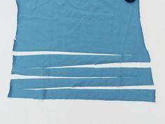 Teppich aus alten T-Shirts und Laken häkeln: Schnittrichtung wechseln