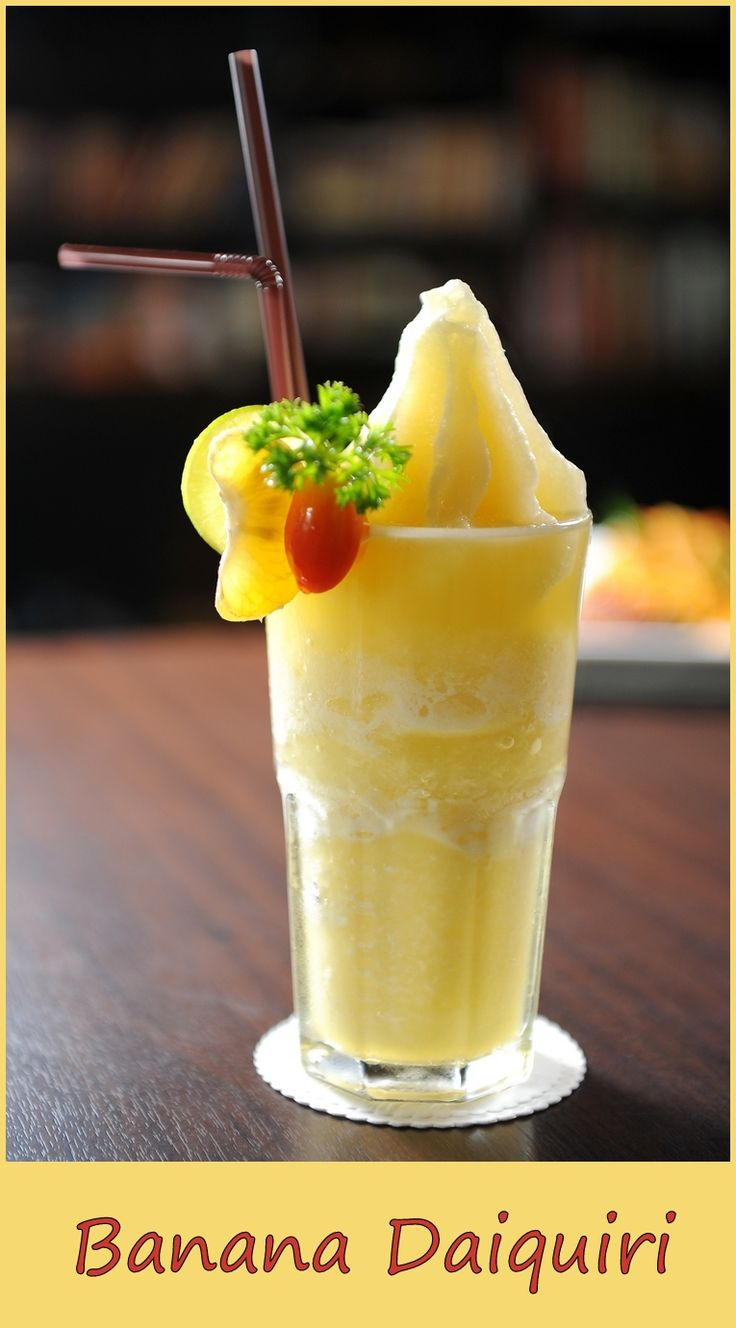 image source: http://www.gustissimo.it/drink/cocktail-pre-dinner/banana-daiquiri.htm A simple and tasty cocktail… Ingredients 1 1/2 oz light rum 1 tsp triple sec 1/2 oz lime juice 1 oz banana liqueur 1/2 banana 1/2 oz heavy cream crushed ice . Preparation Pour all the ingredients into a blender and blend until smooth. Pour into a cocktail glass and serve. Related