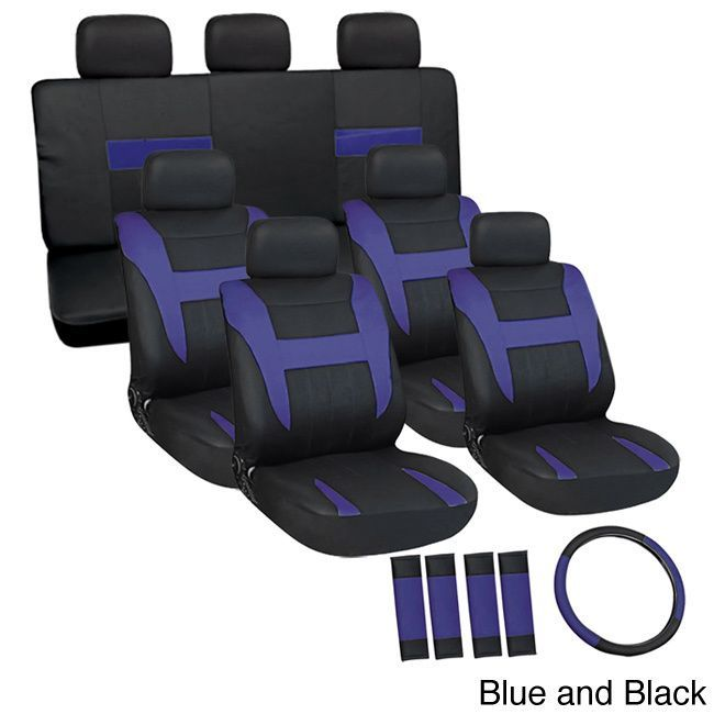 Oxgord Cloth / Mesh 17-Piece SUV Seat Covers Set for Sport Utility Vehicles with 3 Rows (Blue and Black)