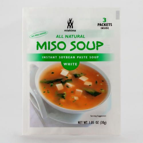 One of my favorite discoveries at WorldMarket.com: Mishima White Miso Soup, 3-Pack (Instant Miso) No MSG added, most miso soups have MSG. Non-GMO soybeans. Benefits of soy. Product of USA.