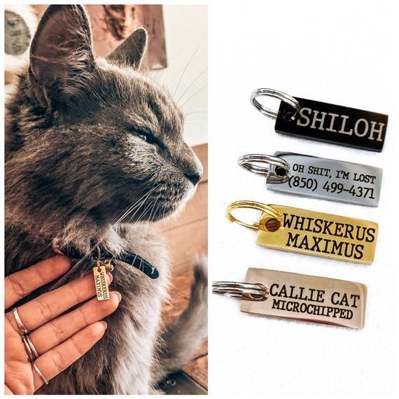 Cat Tag Dog Tag Cat Id Tag Personalized Cat Tag Dog Id Tag Engraved Cat Tag Collar Tag Custom Id Tag Pet Id Tag Microchipped Small In 2021 Cat Id Tags