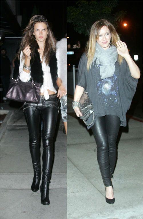 Tight Leather Pants Look Better on... Alessandra Ambrosio VS Hilary Duff! | alessandra ambrosio | outfit clothes