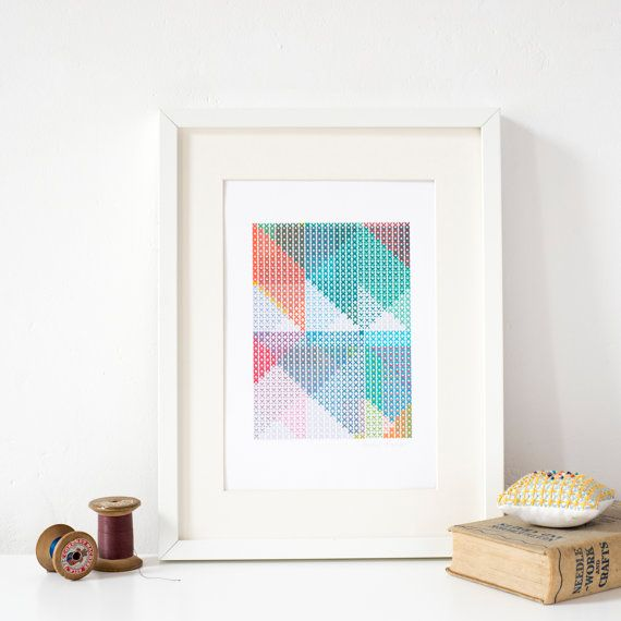 Geometric cross-stitch colourful abstract A4 Art by PixelAndThread