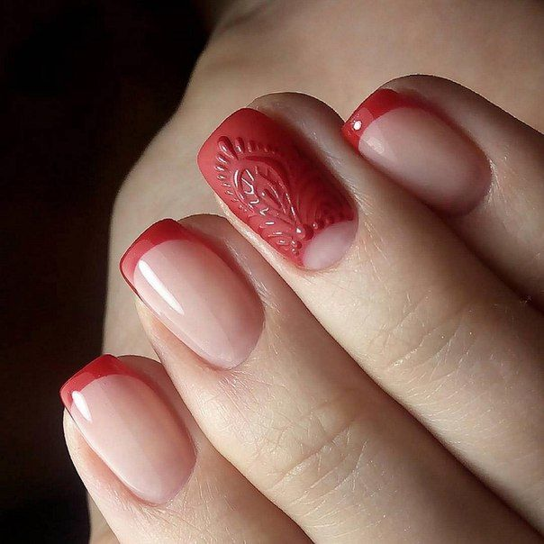 Accurate nails, Business nails, Color french manicure, Evening nails, Exquisite nails, Original nails, Party nails, Red french manicure