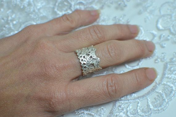 Silver lace ring Bohemian lace jewelry cast lace by MyElesi