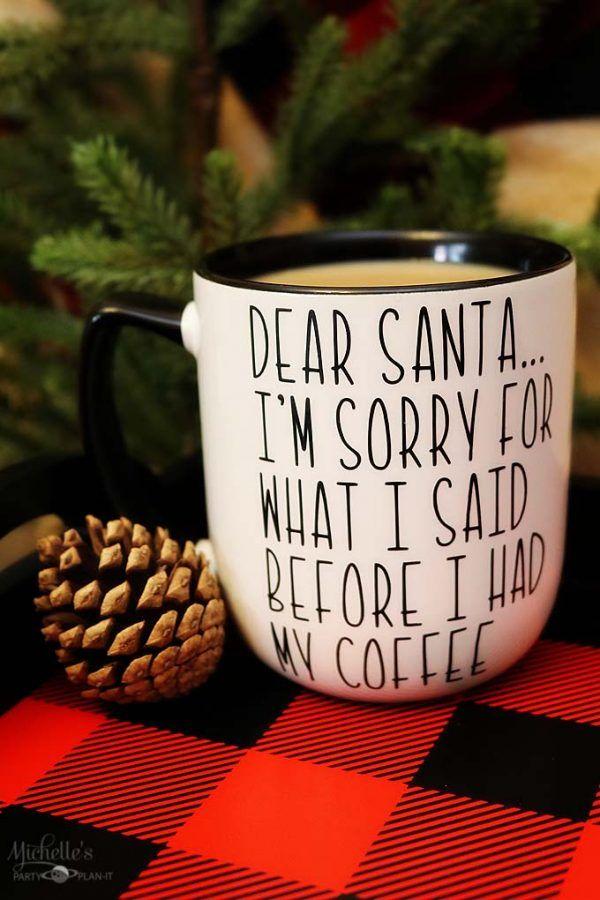 DIY Christmas Mug   Dear Santa Coffee Mug   diy coffee mug    Michelle's Party Plan-It for Design Dazzle #diymug #diycoffeemug #diychristmas