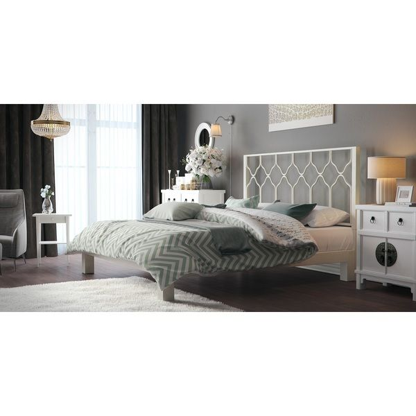 Honeycomb Motif Designs White Metal Headboard and Aura White Platform Bed