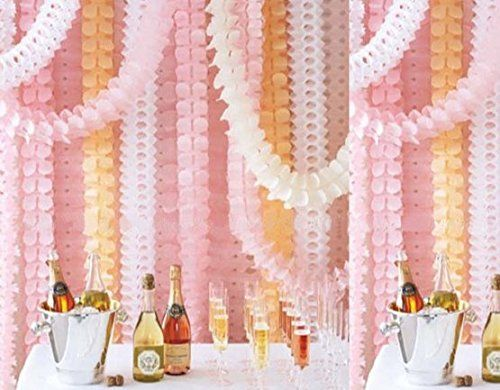 LifeGlow Crafts™ 6Pcs Hanging Four-Leaf Clover Garland (3.6M Long each)-Tissue Paper Flowers, Tissue Paper Garland, Independence Day Decoration, Wedding Decor, Party Decor, Tissue Paper, Tissue Paper Flowers Kit, Garland Craft (Pink) LifeGlow Crafts