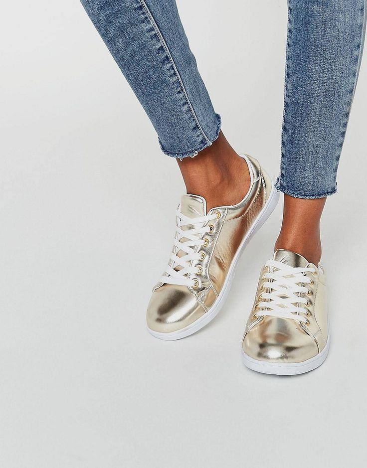 Image 1 of Missguided Gold Metallic Sneaker