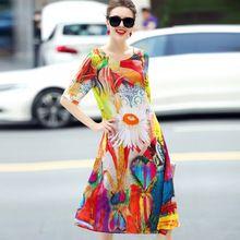 100% vestido de ropa de las mujeres de calidad superior de seda 2017 vestido de verano o-cuello media manga vestido estampado de seda femenina(China (Mainland))