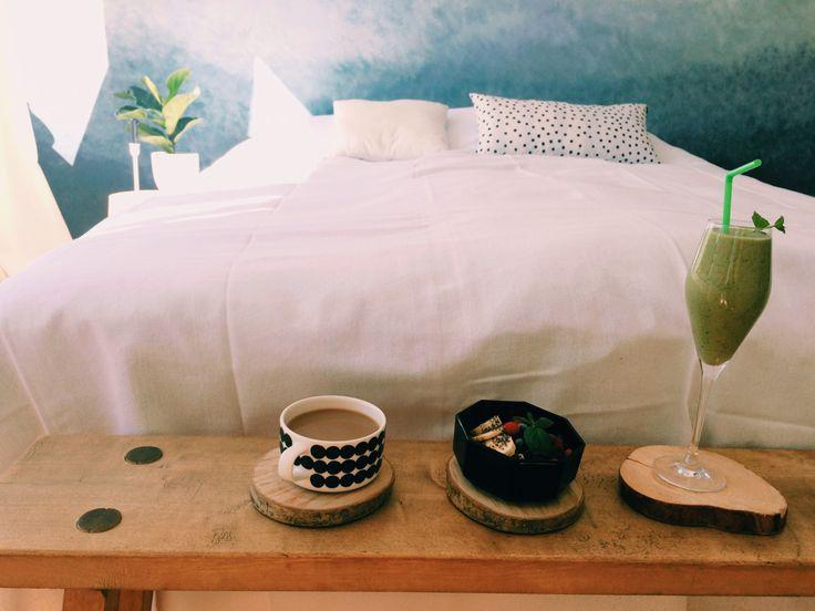 Breakfast in Scandinavian Bed. #healthy #breakfast #wood #ombrewall #bench #marimekko
