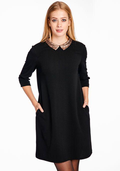 Effen A-lijn jurk met pailletten details - BLACK - 08004723_1119