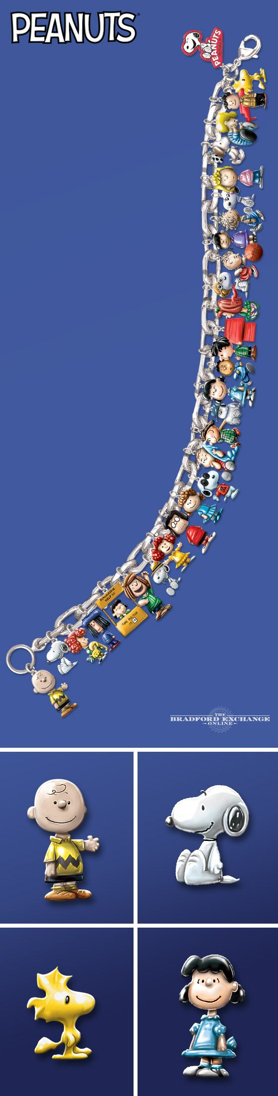 Wear the ultimate PEANUTS tribute! This first-of-its-kind collector's edition charm bracelet features 30 handcrafted enamel charms with some of your favorite characters, including Charlie Brown, Snoopy, Woodstock, Lucy, Linus and more.