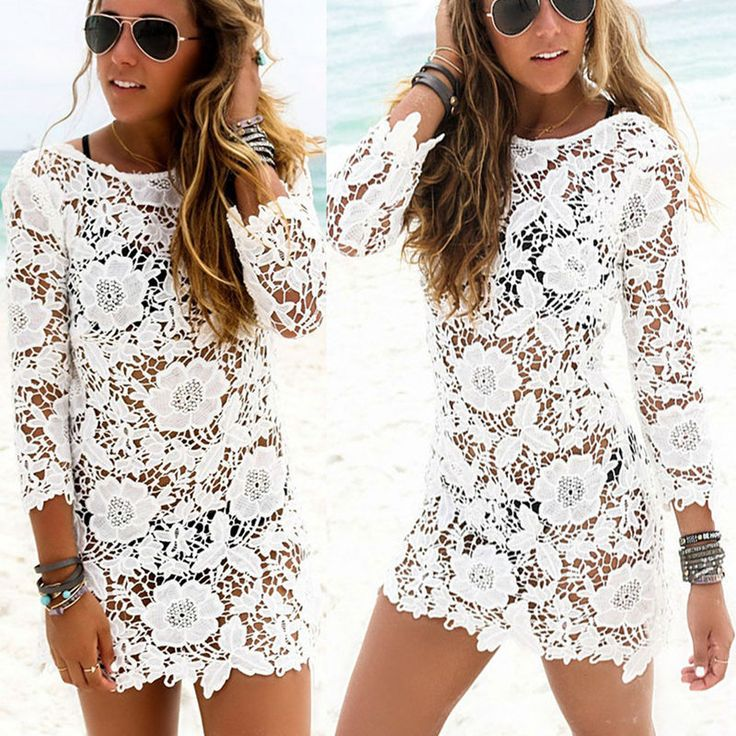 Lovely Women Lace Crochet Bathing Suit Bikini Swimwear Cover Up Beach Dress Tops in Clothing, Shoes, Accessories, Women's Clothing, Swimwear | eBay!